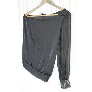 Rampage Asymmetrical Sequin Cuff Sheer Top